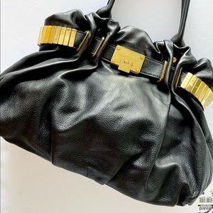 Michael Kors Black Leather Bag with Gold Hardware